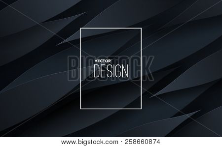 Abstract 3d Background With Black Paper Layers. Vector Geometric Illustration Of Carbon Sliced Shape