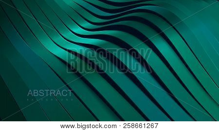 Turquoise green wavy ribbon background. Abstract papercut decoration. 3d topography relief. Vector realistic illustration. Modern cover layout template. Architectural concept poster