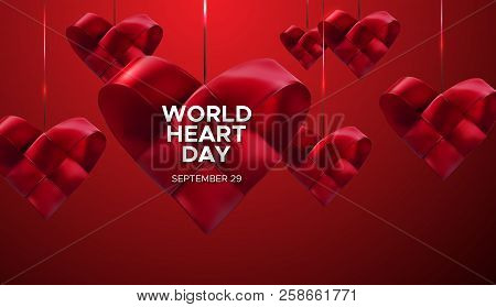 World Heart Day Background. Realistic Satin Ribbon Woven Heart With World Heart Day Label. Vector Il