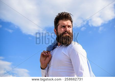 Man Bearded Hipster Formal Style Look Back Sky Background. Frustration Feeling. Guy Reached Top But