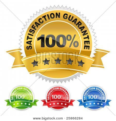 vector illustration of coloured label satisfaction guarantee
