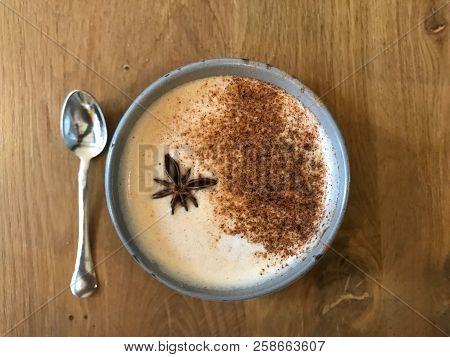 Masala Tea Chai Latte Traditional Warm Indian Sweet Milk Spiced Drink, Ginger, Cinammon Sticks, Fres