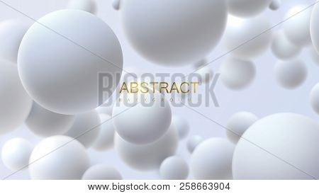 Snowy White Balls. Vector Abstract Illustration. Realistic 3d Background With Organic Spheres. Trend