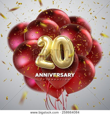 20 Anniversary Celebration. Golden Numbers With Sparkling Confetti And Red Balloon Bunch. Vector Fes