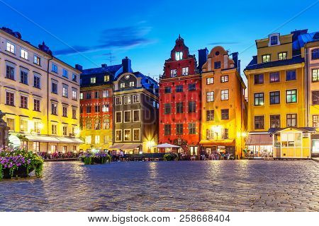 Scenic Summer Night View Of The Big Square (stortorget) In The Old Town (gamla Stan) In Stockholm, S