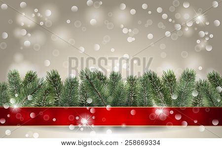 Christmas Background. Banner With Detailed Christmas Tree And Red Ribbon. Realistic Fir Tree Border.