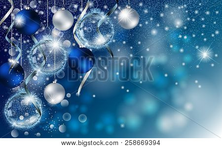 Christmas Blue Banner With Stardust Sparks And Christmas Balls. Vector New Year Design For Greeting