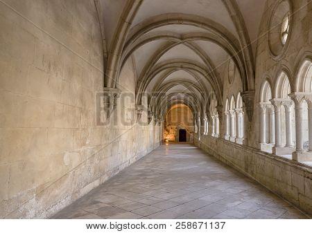 Alcobaca, Portugal -  May 20, 2018:  Arched Hallway In  The Mosteiro De Santa Maria De Alcobaca