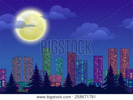 Urban Background, Night Cityscape With Skyscrapers, Clouds And Big Bright Moon In Blue Starry Sky. V