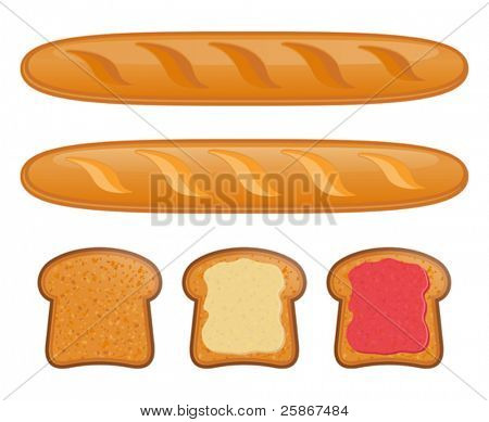 vector illustration of Baguette