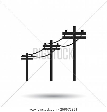 High Voltage Power Lines. Electric Pole Vector Icon On White Bac