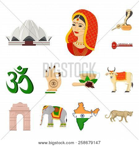 Country India Cartoon Icons In Set Collection For Design.india And Landmark Vector Symbol Stock Web