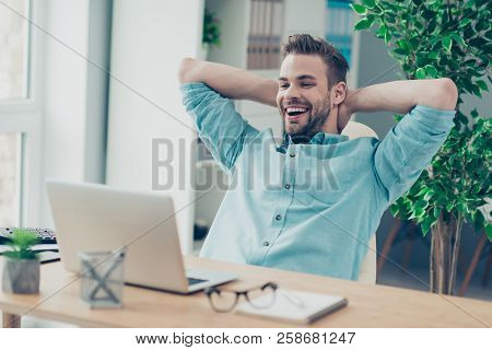 Careless Professional, Employee, Brunet Rejoice Man In Stylish Casual Blue Shirt Hold Hands Behind T