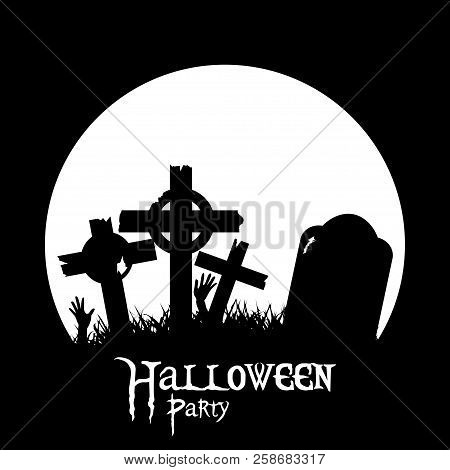 Halloween Silhouette Background With Cemetery Crosses Zombie Hands And Decorative Text
