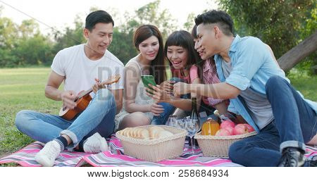 Youngster friends go picnic together  poster