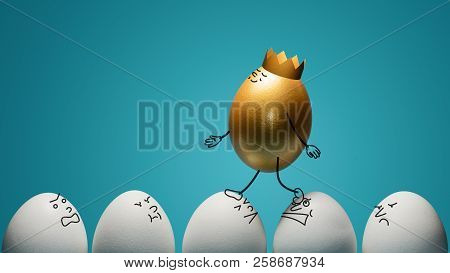 Concept Of Ambitiousness, Careerism. A Golden Egg Walks Through Heads The White Eggs.