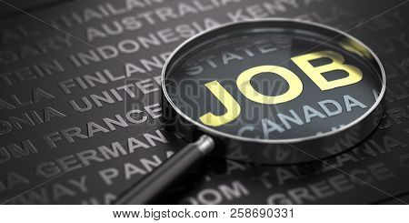 Black Background With Countries Names With Focus On The Word Job Witten In Golden Letters And A Magn