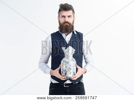 Millionaire. Bearded Man With Cash Money In Jar. Business Success, Banking Concept. Business Man Hol