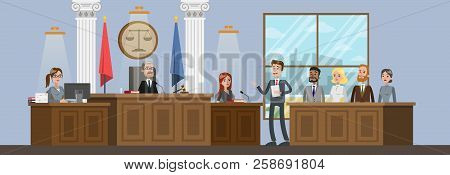Court Building Interior With Courtroom. Trial Process