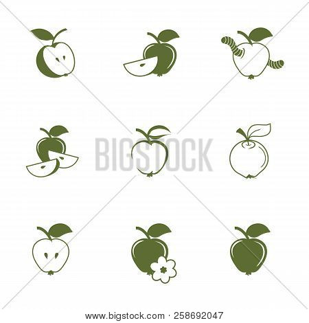 Hand Drawn Apple Icons. Natural Healthy Food. Apple With A Worm. Colour Illustration Of Apple Suitab