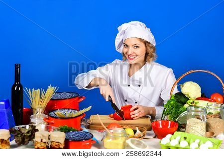 Organic Food Cooking, Vegetarian, Healthy Meal. Food Preparation Concept. Professional Cook Cuts Red