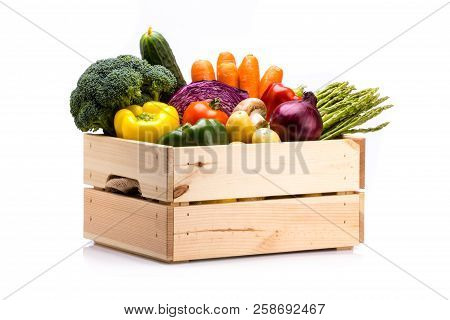 Pine Box Full Of Colorful Fresh Vegetables On A White Background, Ideal For A Balanced Diet, Contain