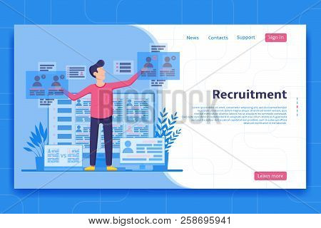 Recruitment Landing Page Concept. Recruiter Looking For Personnel On The Web Pages. Employer Choices