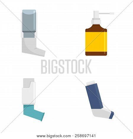 Inhaler Breather Deep Breath Health Care Asthma Icons Set. Flat Illustration Of 4 Inhaler Breather D