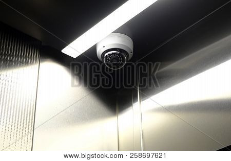 Security, Cctv Camera In Elevator On The Office Building