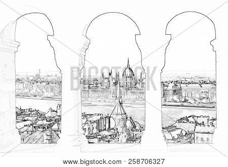 Vector Illustration Of Budapest And Hungarian Parliament