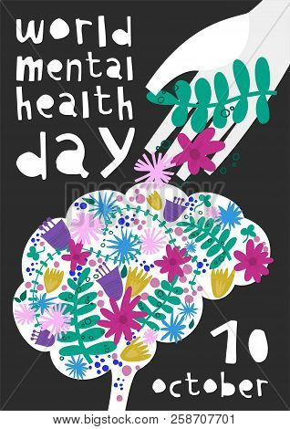 World Mental Health Day. Vector Illustration With Brain, Flowers, Helping Hand