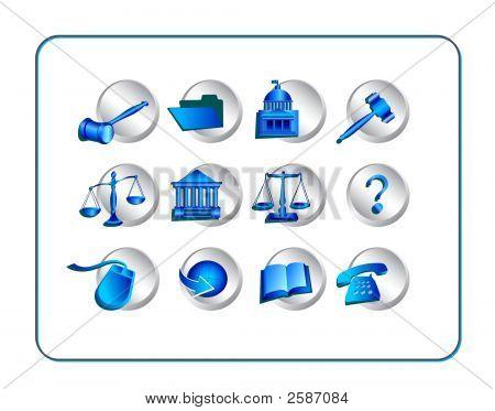 Legal Icon Set - Silver-Blue