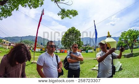 Pokhara, Nepal - April 10, 2018: The People Near Stoned Sculpture Of Namgyal Chorten At Nepal