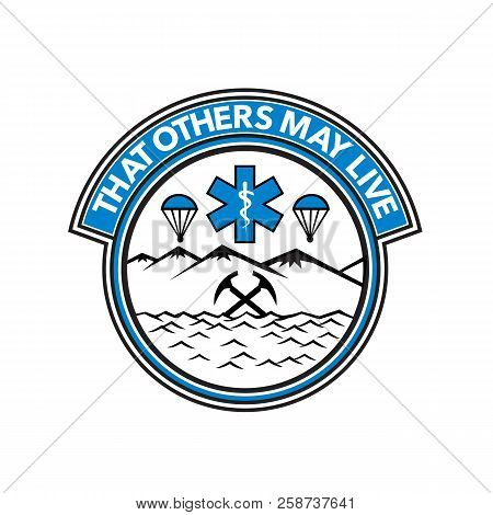 """Badge icon illustration fro sea, air and land rescue showing a parachute, paramedic symbol, crossed mountain ice axes set inside circle on isolated background with words """"That Others May Live"""". poster"""