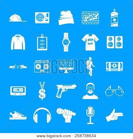 Hiphop Rap Swag Music Dance Icons Set. Simple Illustration Of 16 Hiphop Rap Swag Music Dance Vector