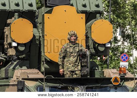 Warsaw, Poland - August 15, 2017: Military Parade During The Ceremony Of Celebration Polish Army Day