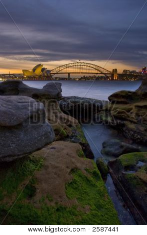 Sydney Harbour Via Mossy Rocks