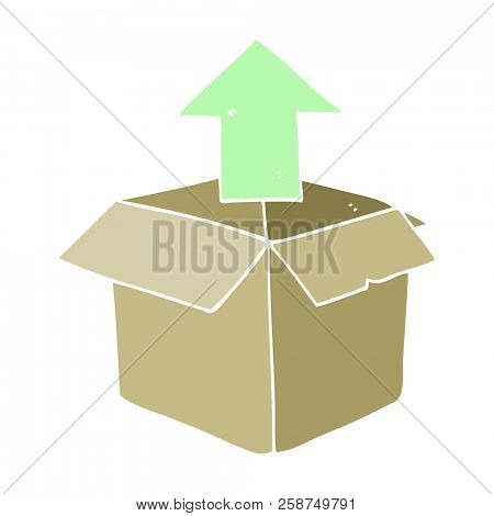 flat color illustration of unpacking a box