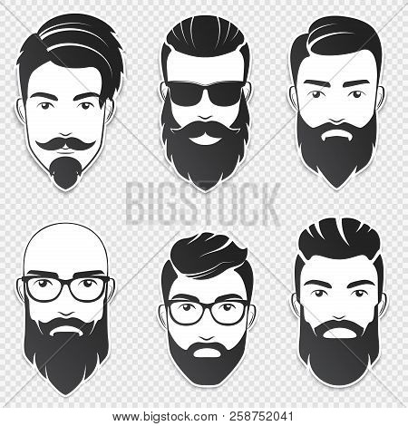 Set Of Vector Bearded Hipster Men Faces With Different Haircuts, Mustaches, Beards. Trendy Man Avata