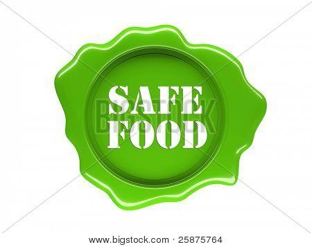 3d green seal of safe food label