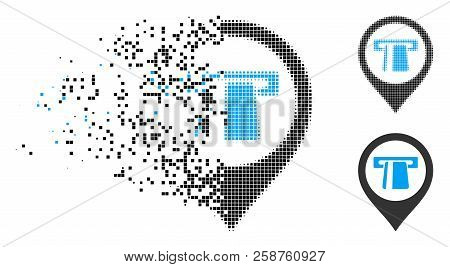 Cash Machine Marker Icon In Dissolved, Pixelated Halftone And Undamaged Variants. Cells Are Grouped