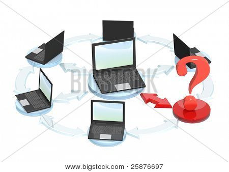 Conceptual image - connection error. Objects isolated over white