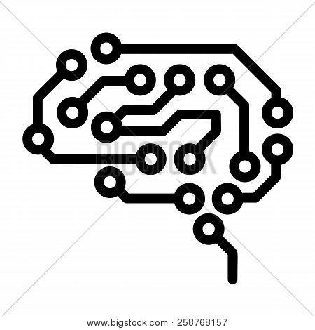Future Brain Icon. Outline Future Brain Vector Icon For Web Design Isolated On White Background