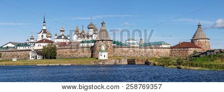 Panorama Of The Solovetsky Monastery With Blue Sea Bay In The Foreground In Sunny Summer Day, Temple