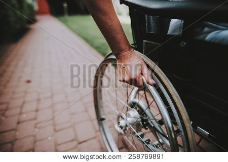 Patient Undergoes Rehabilitation. Cancer Patient On A Wheelchair. Woman With Daughter. Woman Glad Se