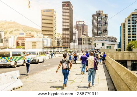 Cape Town, South Africa, February 9, 2018: Commuters on the upper deck of Cape Town Station near Civic Centre in Cape Town, South Africa