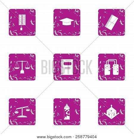 Informed Decision Icons Set. Grunge Set Of 9 Informed Decision Vector Icons For Web Isolated On Whit