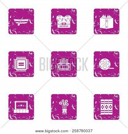 Valuable Formation Icons Set. Grunge Set Of 9 Valuable Formation Vector Icons For Web Isolated On Wh