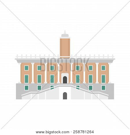 Historical European Building In City Icon. Flat Illustration Of Historical European Building In City