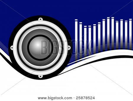 A vector musical background illustration with a large audio speaker on a blue and white backdrop with a graphic equalizer in white, room for text